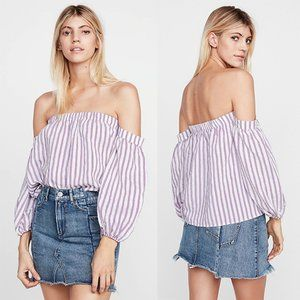 NWT Express Off Shoulder Balloon Sleeve Blouse L